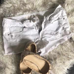 White Ripped American Eagle Shorts
